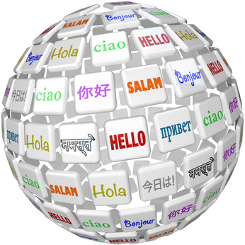 A sphere of word tiles with the word Hello in different languages representing peace among the cultures of the planet