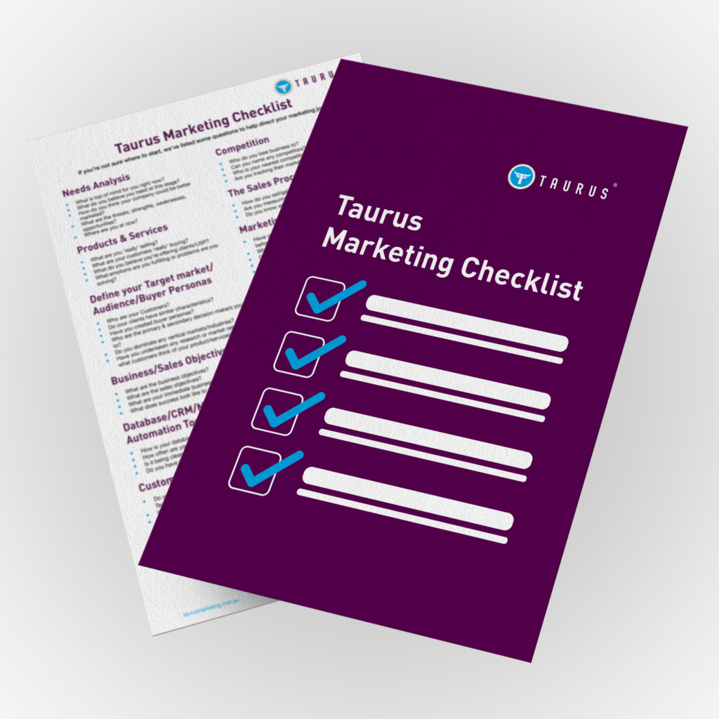 taurus marketing checklist